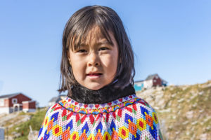 Young Inuit girl in Kullorsuaq, Greenland